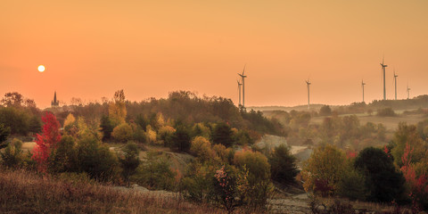Autumn in Bavaria, golden fall colors in the morning. Orange Leaves in the countryside