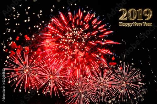 Happy new year 2019 text of gold color and fireworks stock photo and royalty free images on - New years colors 2019 ...