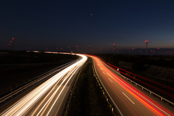 Keuken foto achterwand Nacht snelweg carretera por la noche con coches