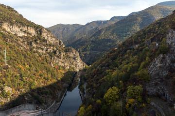 Autumn ladscape of The Vacha (Antonivanovtsi) Reservoir, Rhodope Mountains, Plovdiv Region, Bulgaria