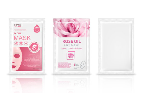 Facial sheet mask sachet package mockup set. Vector realistic illustration isolated on white background. Beauty product packaging design templates.