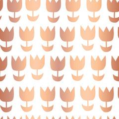 Copper foil tulip flower vector seamless pattern background. Elegant rose golden florals on white backdrop. Elegant geometric design for gift wrap, birthday party card, wedding celebration, invitation