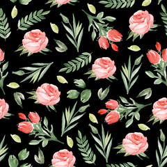 Seamless floral  pattern on a black background. Watercolor hand drawn
