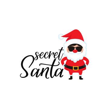 Secret Santa. Lettering. calligraphy vector illustration. winter holiday design