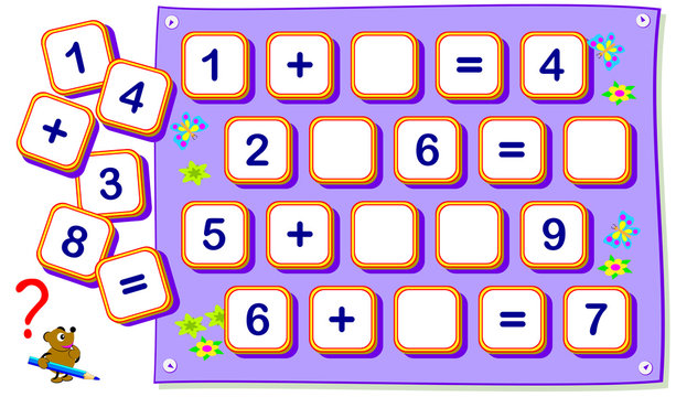 Mathematical exercises for kids on addition. Find missing signs and draw them in empty squares. Logic puzzle game for young children with numbers. Developing counting and writing skills. Vector image.