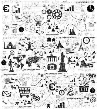 lavagna, icone, sfondo, negozio, commercio