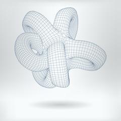 Vector 3D Model Lobachevsky Geometry Concept Icon - Non Euclidean Geometric Infinite Hypertorus Image