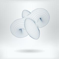 Vector 3D Model Non Euclidean Geometric Concept Icon - Low Poly Unending Toroid Image