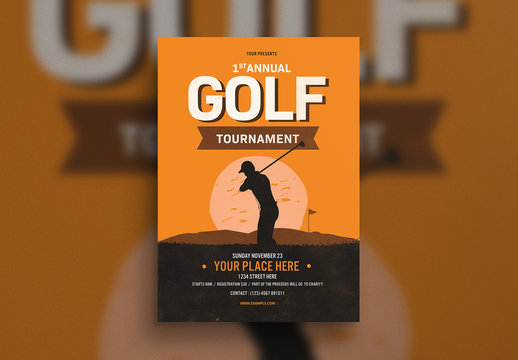 Golf Tournament Flyer Layout with Illustration