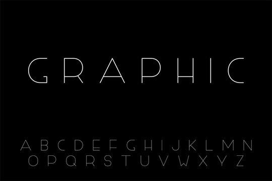 Vector minimalistic font - creative English alphabet, thin latin letters
