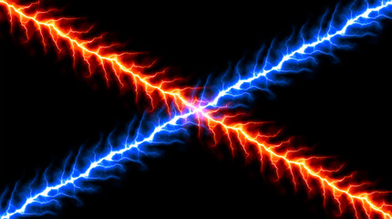 Red and Blue Lightnings - Vector Cold and Hot Plasma Intersection  - Abstract Thunderbolts Battle Plasm Background