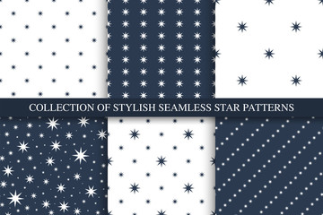 Collection of vector seamless star patterns, decorative backgrounds
