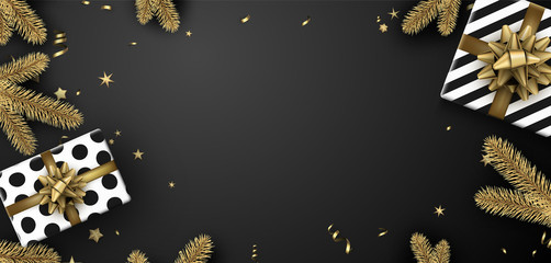 Merry Christmas and Happy New Year banner with fir branches and gifts. Top view card.