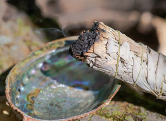 Smudging ritual using burning thick leafy bundle of white sage in bright polished rainbow abalone shell in forest preserve.