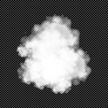 White Cumulus Swarm Isolated on Transparent Background  - Vector Volumes of Smoke, Cloud, Steam, Speech Bubble, Brume etc