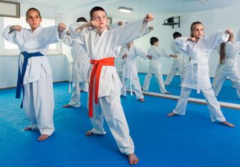 Foto op Aluminium Vechtsport Young trainer is training teenagers