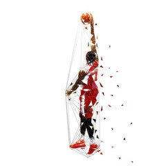 Basketball player in red jersey shooting ball, low polygonal isolated vector illustration. Team sport