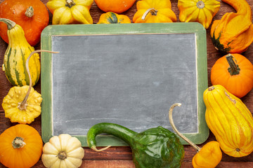 blank blackboard with squash and gourd