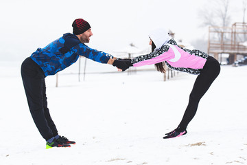 Couple exercise outside