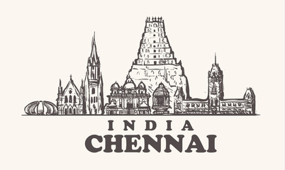 Wall Mural - Chennai skyline, India vintage vector illustration, hand drawn temples.