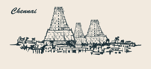 Fotomurales - Chennai skyline,hand-drawn sketch vector illustration on white background.