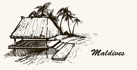House by the sea on the beach Maldives.Hand drawn sketch Maldives illustration