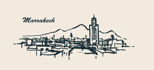 Fotomurales - Marrakech skyline hand drawn sketch vector illustration.