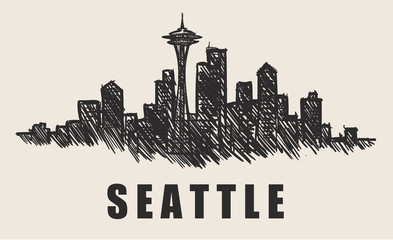 Fotomurales - Seattle skyline,Space needle hand-drawn vector illustration.Fast doodle sketch.