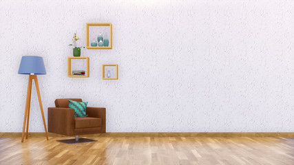 Brown leather armchair, floor lamp and simple square shelves in modern minimalist living room interior with copy space on empty white stucco wall. 3D illustration.