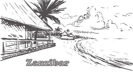 Zanzibar island hand drawn.Zanzibar sketch vector illustration.