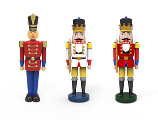 Christmas vintage wooden toys - nutcrackers and soldier. 3D image on white background