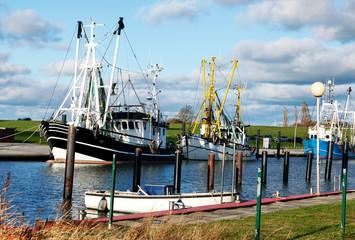 Krabbenkutter liegen im Kutterhafen an der Nordseeküste, Küstenfischerei in Norddeutschland