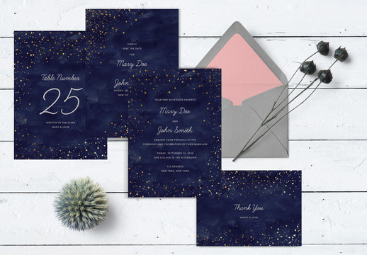 Wedding Stationery Layout with Stars. Wedding Invitation Collection. Boho Wedding Set. Wedding Template