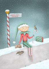 cute full color hand drawn Christmas illustration of elf sitting on wall in snow at North Pole Express sign post, with teddy bear, candy cane, robind and suitcase.