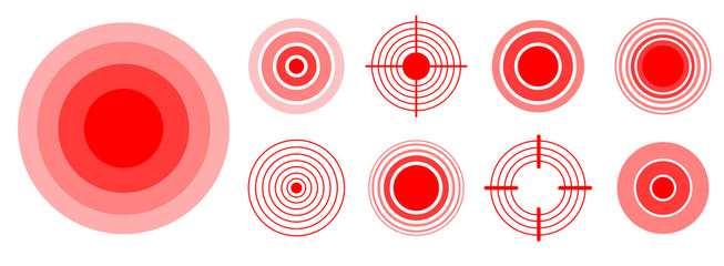 Pain red rings to mark painful woman and man body parts, neck, bones, muscle and headache. Medical vector set of radial target medical problem illustration