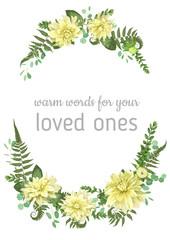 Floral vector background. Beautiful wedding invitation with various leaves. Botanical illustration. Fern, eucalyptus, boxwood, flowers of yellow dahlia