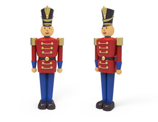 Christmas vintage wooden soldier toys. 3D image on white background