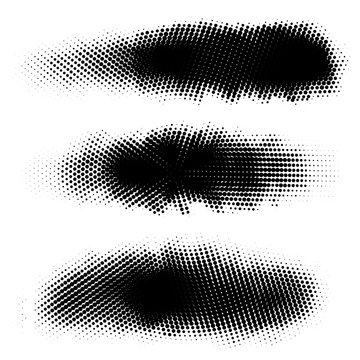 Vector set of halftone strokes, stains for backdrops. Monochrome design elements set. One color monochrome artistic backgrounds.