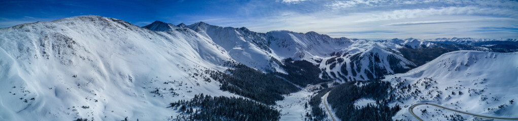 Fototapete - Aerial drone photograph of fresh snow after a winter blizzard in the Colorado Rocky Mountains.  Taken near Loveland Pass