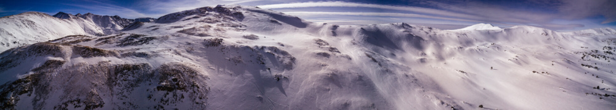 Aerial drone photograph of fresh snow after a winter blizzard in the Colorado Rocky Mountains.  Taken near Loveland Pass