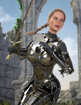 Beautiful Woman Medieval Crusader