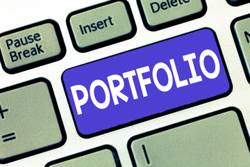 Conceptual hand writing showing Portfolio. Business photo showcasing Examples of work used to apply for a job Combination of shares.
