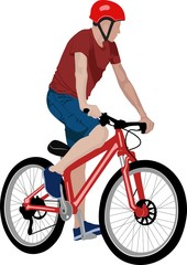 isolated cyclist - vector illustration