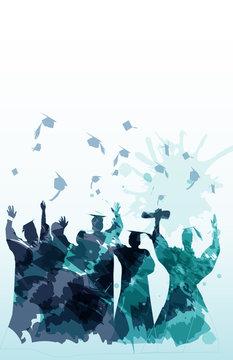 Graduation silhouette in watercolors
