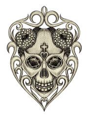 Art Vintage mix Skull Tattoo. Hand drawing on paper.