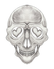 Art In love Skull Tattoo. Hand drawing on paper.