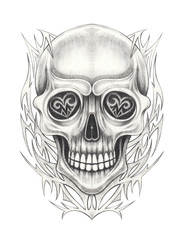 Art Graphic mix Skull Tattoo. Hand drawing on paper.