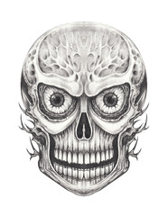 Art Surreal Skull Tattoo. Hand drawing on paper.