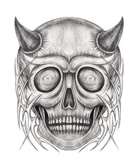 Art Devil Skull Tattoo. Hand drawing on paper.