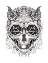 Art Devil Skull Tattoo. Hand drawing on paper.